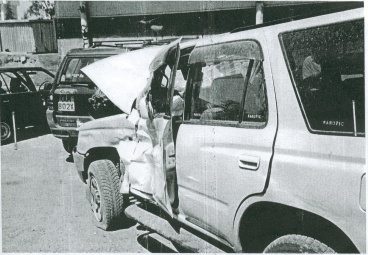 The Taylor's car after being hit by a bus.