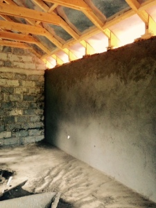 Finished plastered walls, ready for the floors.